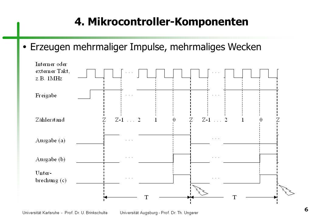 Universität Karlsruhe - Prof. Dr. U. Brinkschulte Universität Augsburg - Prof. Dr. Th. Ungerer 6 4. Mikrocontroller-Komponenten Erzeugen mehrmaliger I
