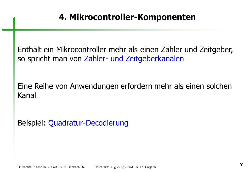 Universität Karlsruhe - Prof. Dr. U. Brinkschulte Universität Augsburg - Prof. Dr. Th. Ungerer 7 4. Mikrocontroller-Komponenten Enthält ein Mikrocontr