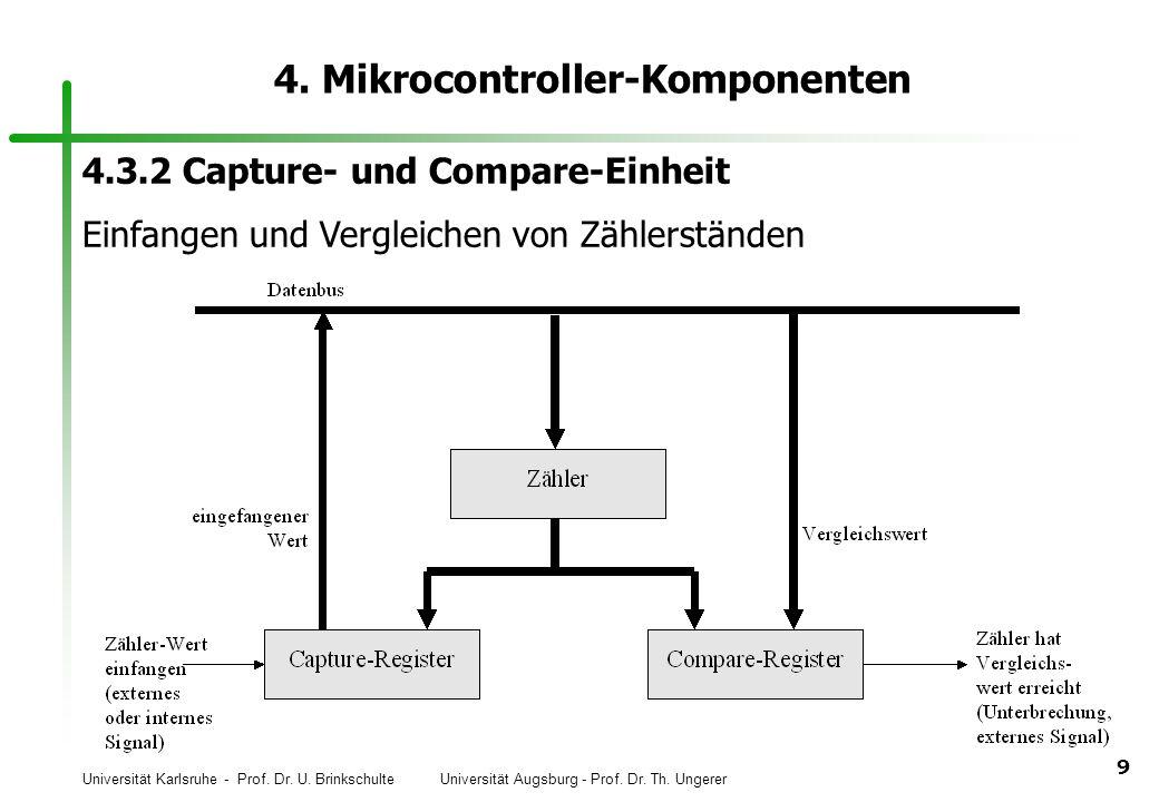 Universität Karlsruhe - Prof. Dr. U. Brinkschulte Universität Augsburg - Prof. Dr. Th. Ungerer 9 4. Mikrocontroller-Komponenten 4.3.2 Capture- und Com