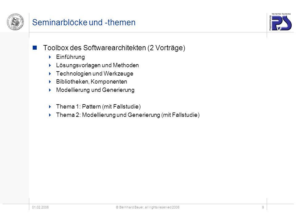 01.02.2006© Bernhard Bauer, all rights reserved 20069 Seminarblöcke und -themen Toolbox des Softwarearchitekten (2 Vorträge) Einführung Lösungsvorlage