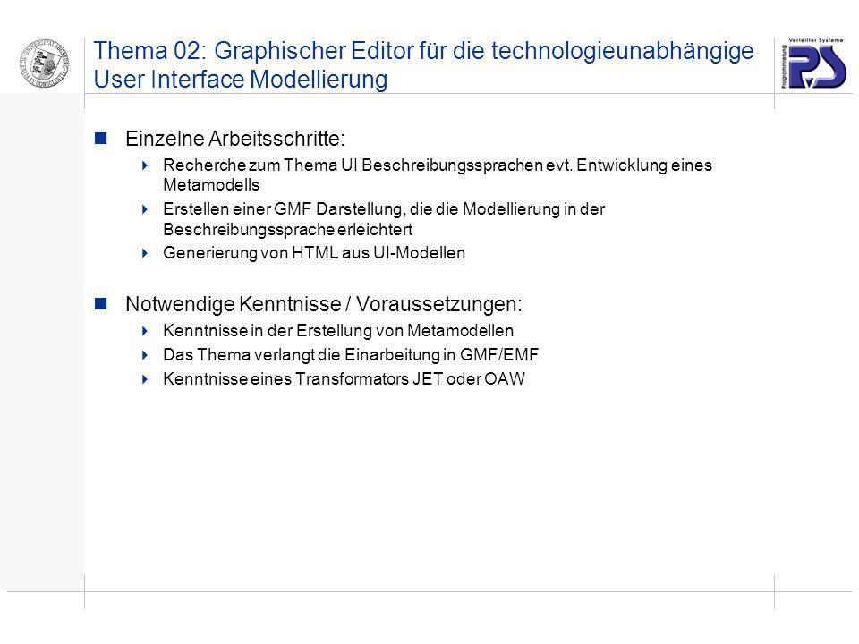 Thema 02: Graphischer Editor für die technologieunabhängige User Interface Modellierung Einzelne Arbeitsschritte: Recherche zum Thema UI Beschreibungssprachen evt.