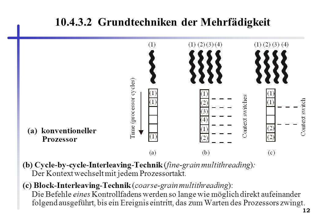 12 10.4.3.2 Grundtechniken der Mehrfädigkeit (b) Cycle-by-cycle-Interleaving-Technik (fine-grain multithreading): Der Kontext wechselt mit jedem Proze