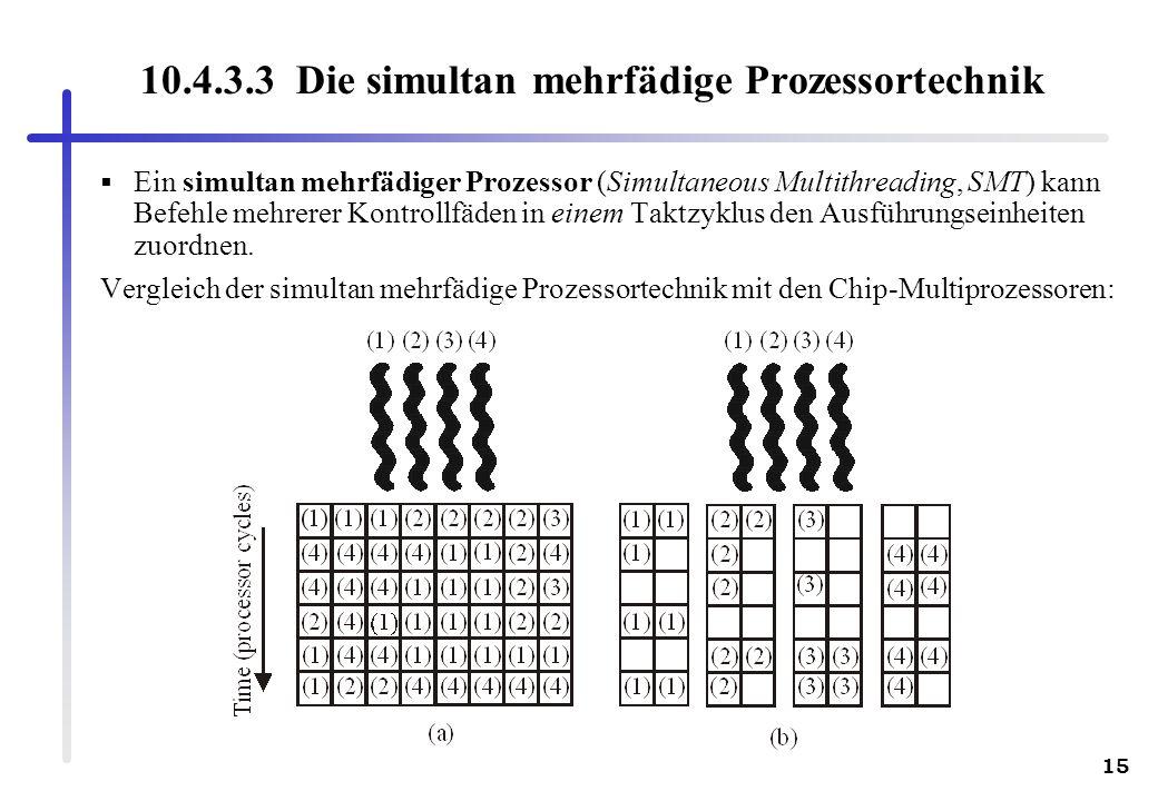 15 10.4.3.3 Die simultan mehrfädige Prozessortechnik Ein simultan mehrfädiger Prozessor (Simultaneous Multithreading, SMT) kann Befehle mehrerer Kontr