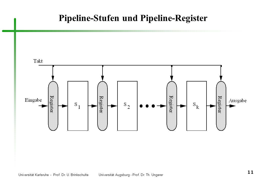 Universität Karlsruhe - Prof. Dr. U. Brinkschulte Universität Augsburg - Prof. Dr. Th. Ungerer 11 Pipeline-Stufen und Pipeline-Register