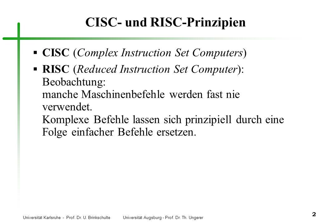Universität Karlsruhe - Prof. Dr. U. Brinkschulte Universität Augsburg - Prof. Dr. Th. Ungerer 2 CISC- und RISC-Prinzipien CISC (Complex Instruction S