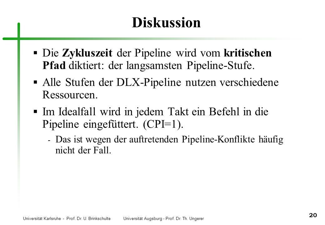 Universität Karlsruhe - Prof. Dr. U. Brinkschulte Universität Augsburg - Prof. Dr. Th. Ungerer 20 Diskussion Die Zykluszeit der Pipeline wird vom krit