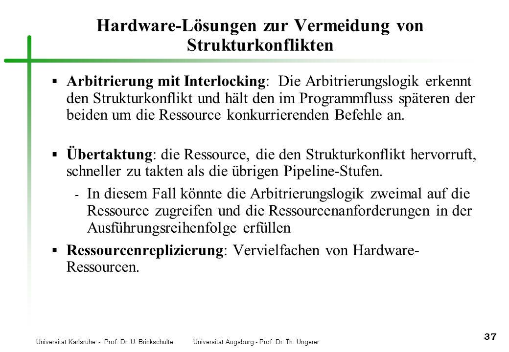 Universität Karlsruhe - Prof. Dr. U. Brinkschulte Universität Augsburg - Prof. Dr. Th. Ungerer 37 Hardware-Lösungen zur Vermeidung von Strukturkonflik