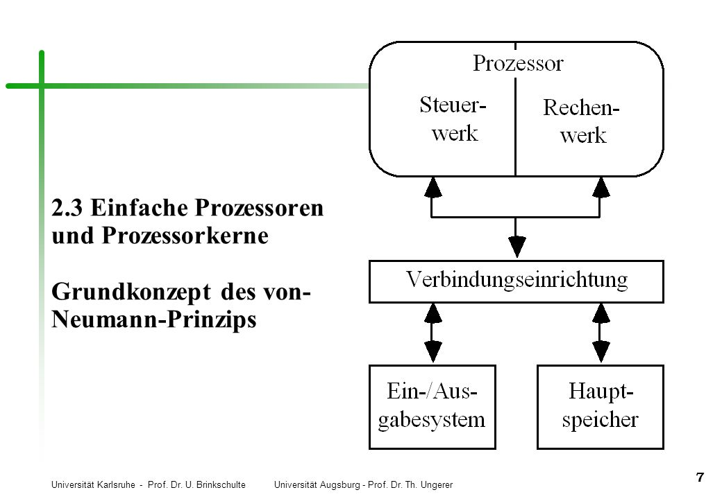 Universität Karlsruhe - Prof. Dr. U. Brinkschulte Universität Augsburg - Prof. Dr. Th. Ungerer 7 2.3 Einfache Prozessoren und Prozessorkerne Grundkonz