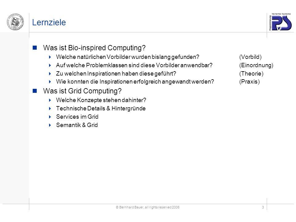© Bernhard Bauer, all rights reserved 20063 Lernziele Was ist Bio-inspired Computing.