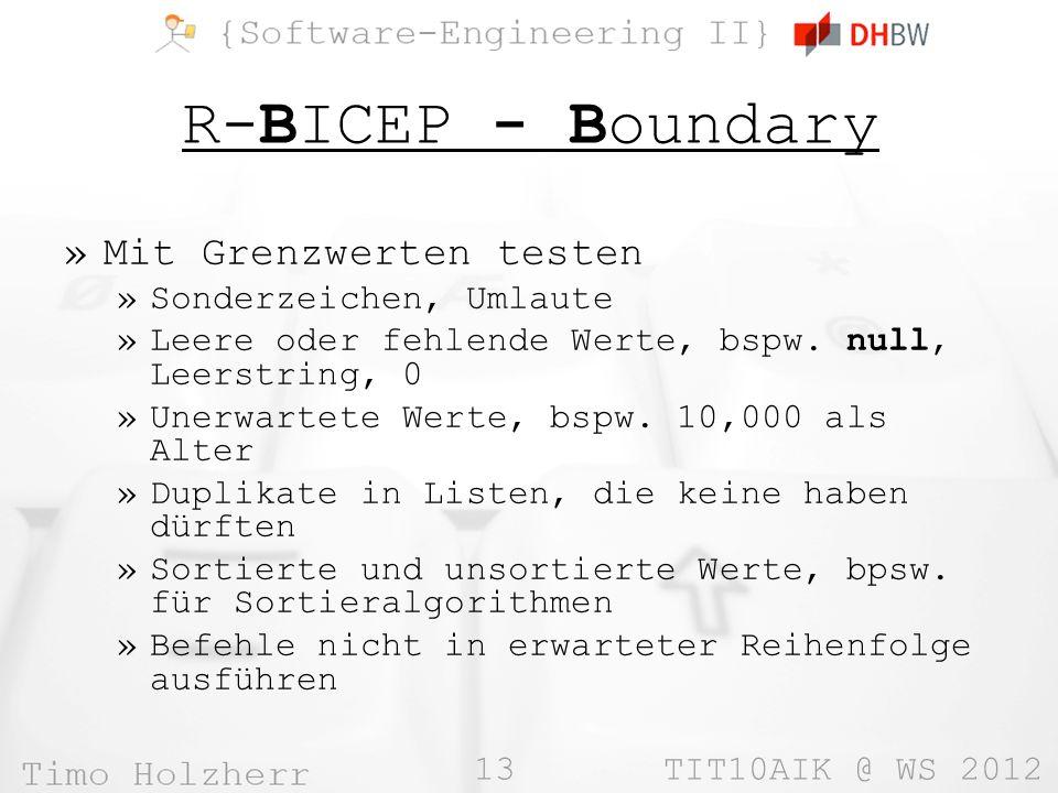 13 TIT10AIK @ WS 2012 R-BICEP - Boundary »Mit Grenzwerten testen »Sonderzeichen, Umlaute »Leere oder fehlende Werte, bspw.