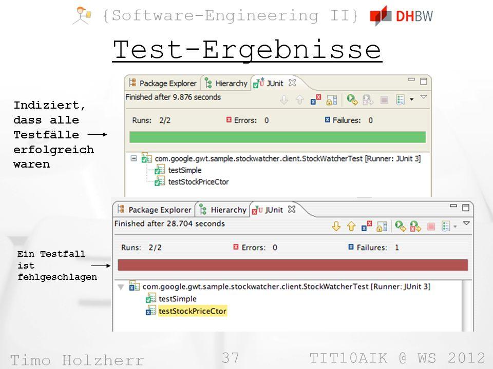 37 TIT10AIK @ WS 2012 Test-Ergebnisse Indiziert, dass alle Testfälle erfolgreich waren Ein Testfall ist fehlgeschlagen