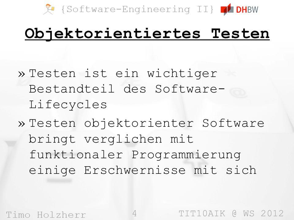 35 TIT10AIK @ WS 2012 Beispiel-Testfall package unittest.test; import org.junit.Assert; public class SimpleTest { @org.junit.Test public void testcase() { Assert.assertTrue( Math.PI > 3 ); // will succeed } @org.junit.Test public void badTestcase() { Assert.assertTrue( Math.PI < 3 ); // bound to fail }