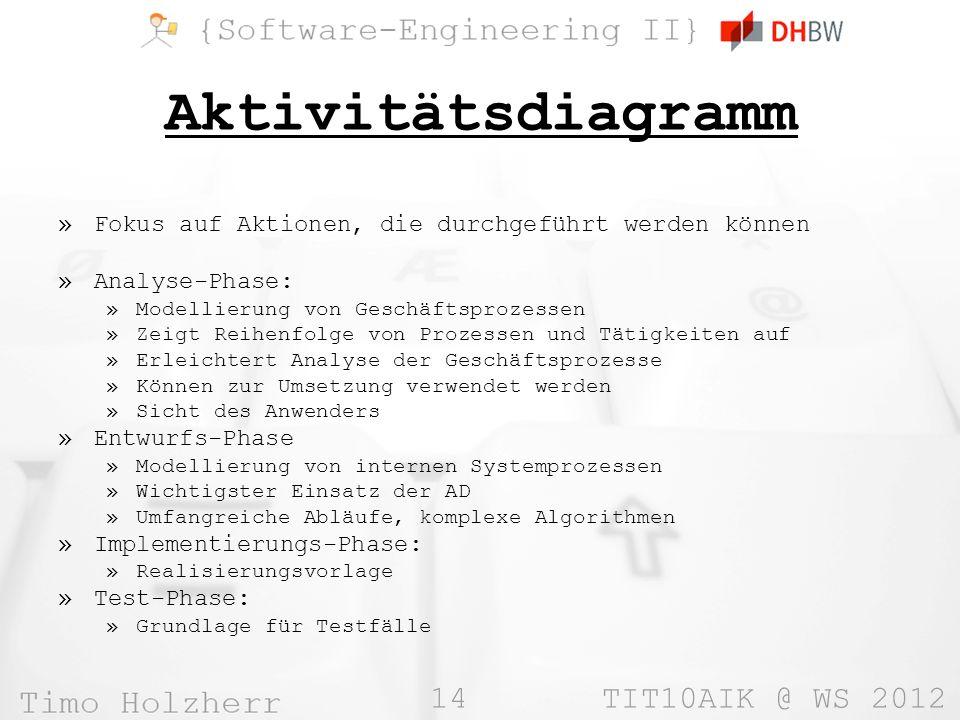 14 TIT10AIK @ WS 2012 Aktivitätsdiagramm »Fokus auf Aktionen, die durchgeführt werden können »Analyse-Phase: »Modellierung von Geschäftsprozessen »Zei