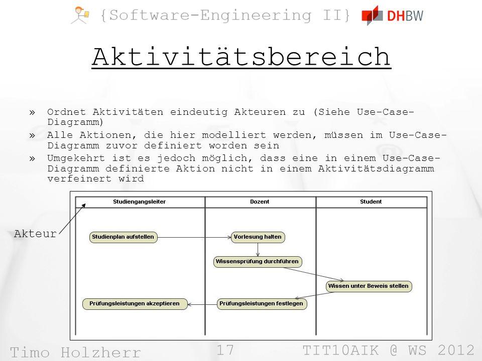 17 TIT10AIK @ WS 2012 Aktivitätsbereich »Ordnet Aktivitäten eindeutig Akteuren zu (Siehe Use-Case- Diagramm) »Alle Aktionen, die hier modelliert werde