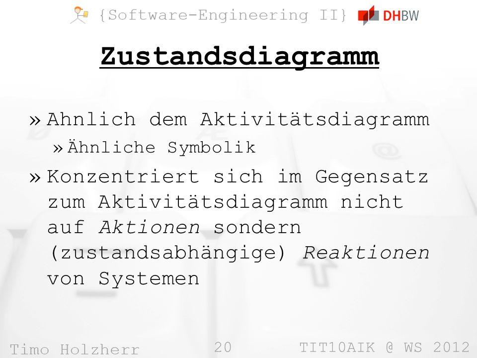 20 TIT10AIK @ WS 2012 Zustandsdiagramm »Ahnlich dem Aktivitätsdiagramm »Ähnliche Symbolik »Konzentriert sich im Gegensatz zum Aktivitätsdiagramm nicht auf Aktionen sondern (zustandsabhängige) Reaktionen von Systemen