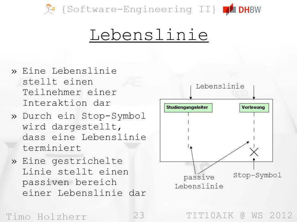 23 TIT10AIK @ WS 2012 Lebenslinie »Eine Lebenslinie stellt einen Teilnehmer einer Interaktion dar »Durch ein Stop-Symbol wird dargestellt, dass eine L