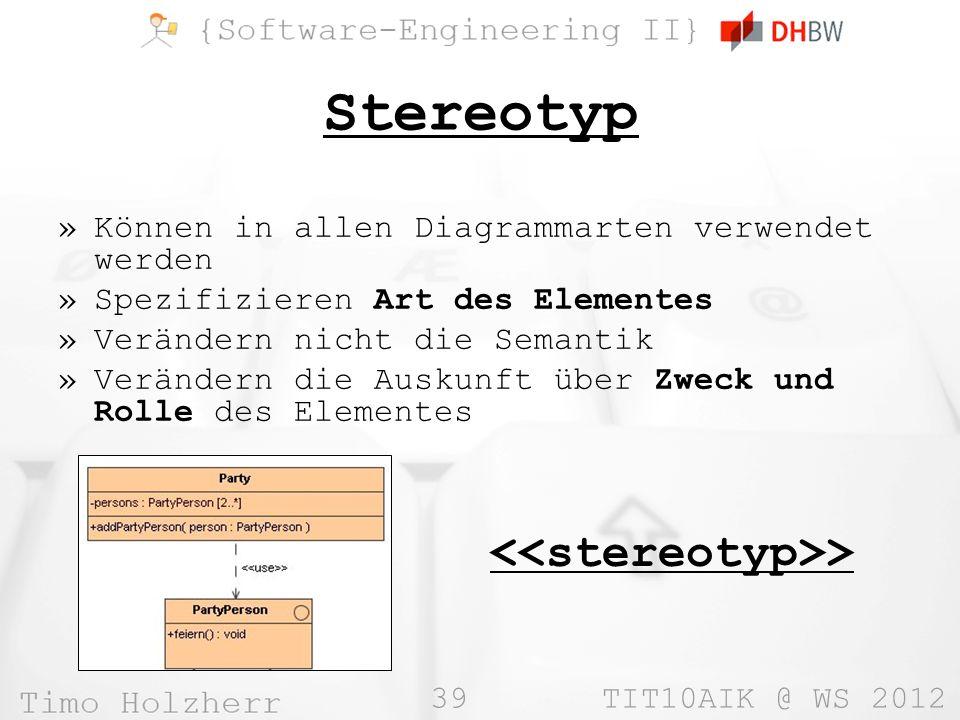 39 TIT10AIK @ WS 2012 Stereotyp »Können in allen Diagrammarten verwendet werden »Spezifizieren Art des Elementes »Verändern nicht die Semantik »Verändern die Auskunft über Zweck und Rolle des Elementes >