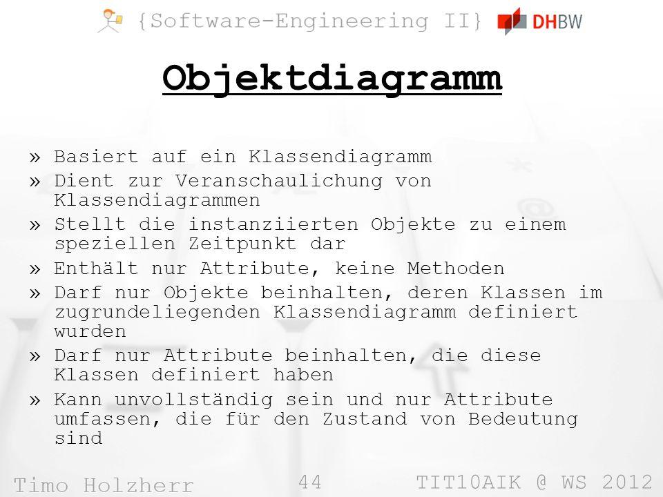 44 TIT10AIK @ WS 2012 Objektdiagramm »Basiert auf ein Klassendiagramm »Dient zur Veranschaulichung von Klassendiagrammen »Stellt die instanziierten Ob