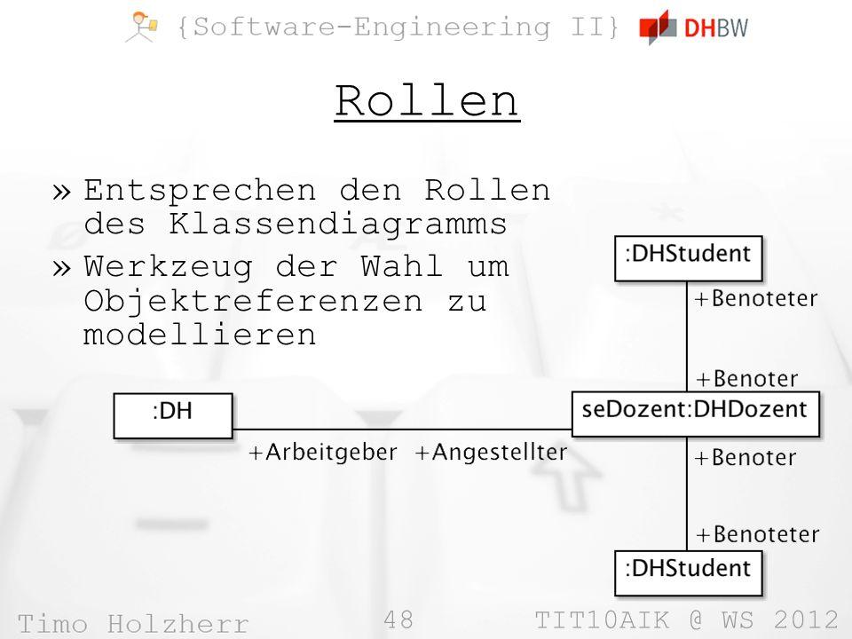 48 TIT10AIK @ WS 2012 Rollen »Entsprechen den Rollen des Klassendiagramms »Werkzeug der Wahl um Objektreferenzen zu modellieren