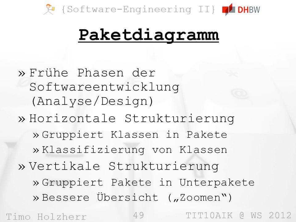 49 TIT10AIK @ WS 2012 Paketdiagramm »Frühe Phasen der Softwareentwicklung (Analyse/Design) »Horizontale Strukturierung »Gruppiert Klassen in Pakete »Klassifizierung von Klassen »Vertikale Strukturierung »Gruppiert Pakete in Unterpakete »Bessere Übersicht (Zoomen)