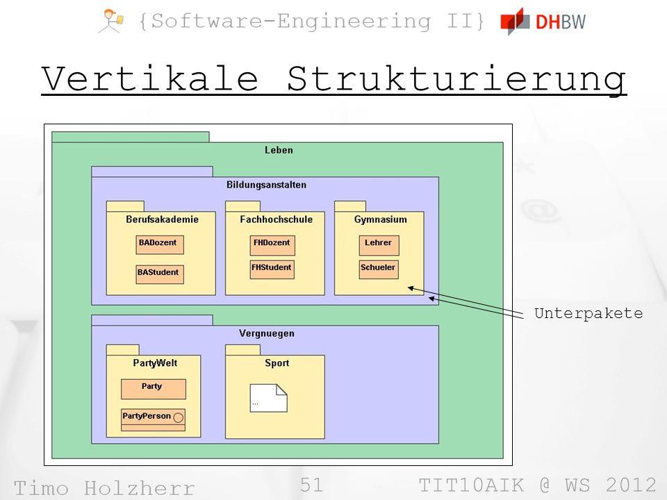 51 TIT10AIK @ WS 2012 Vertikale Strukturierung Unterpakete