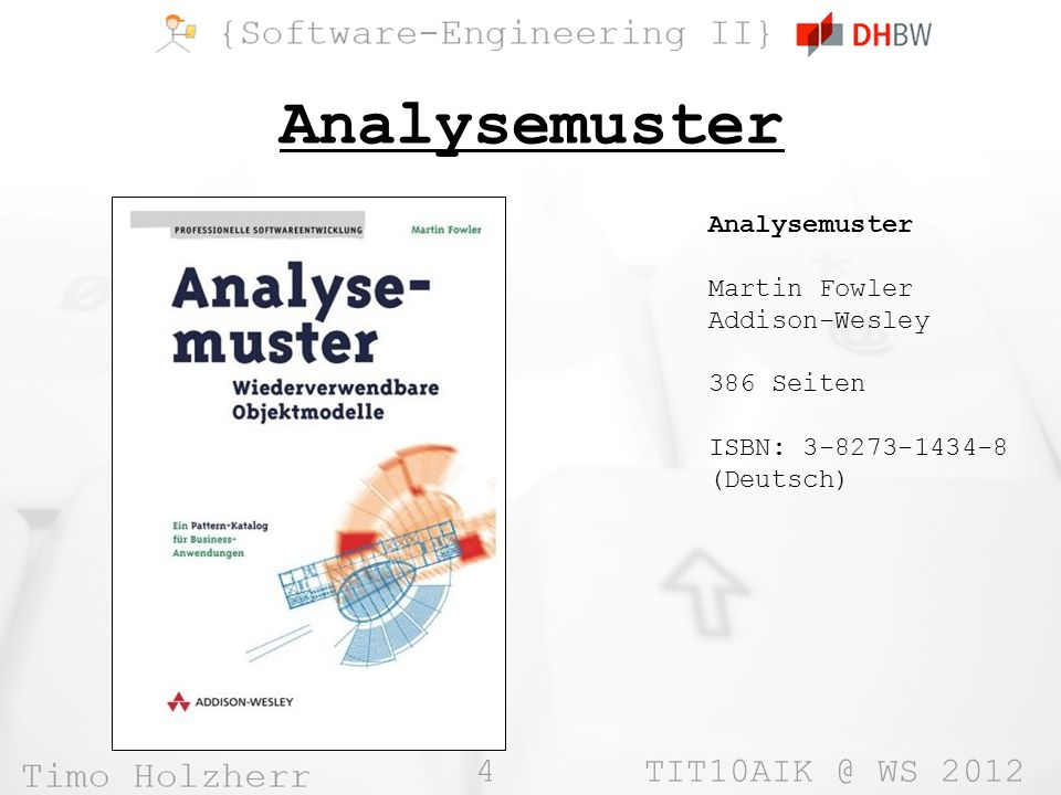 4 TIT10AIK @ WS 2012 Analysemuster Martin Fowler Addison-Wesley 386 Seiten ISBN: 3-8273-1434-8 (Deutsch)