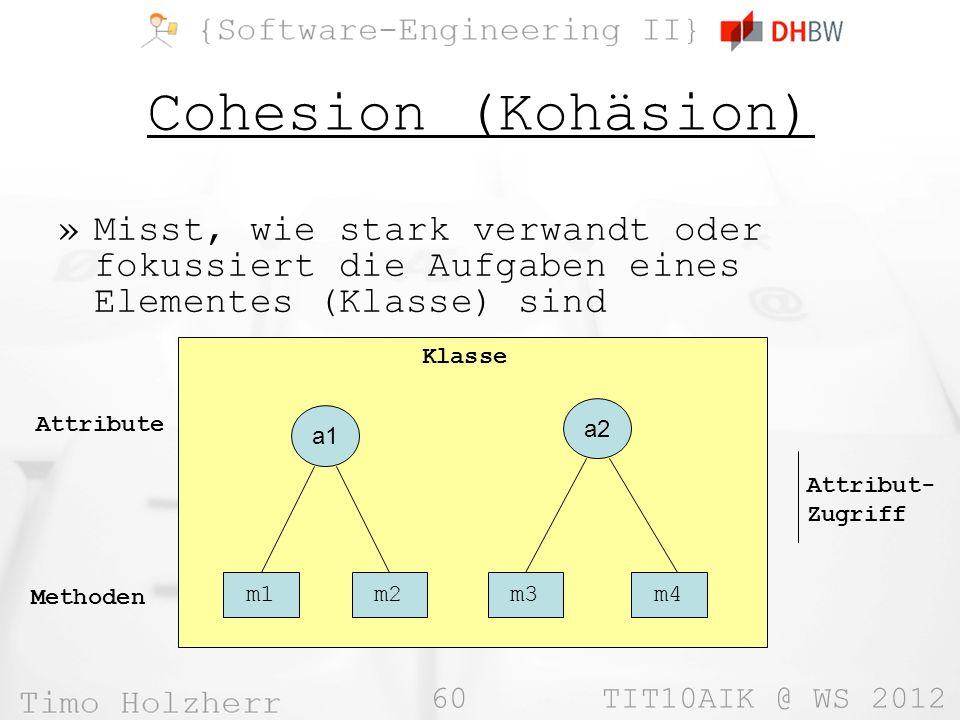 60 TIT10AIK @ WS 2012 Cohesion (Kohäsion) »Misst, wie stark verwandt oder fokussiert die Aufgaben eines Elementes (Klasse) sind Klasse m1m2m3m4 Methoden a1 a2 Attribute Attribut- Zugriff