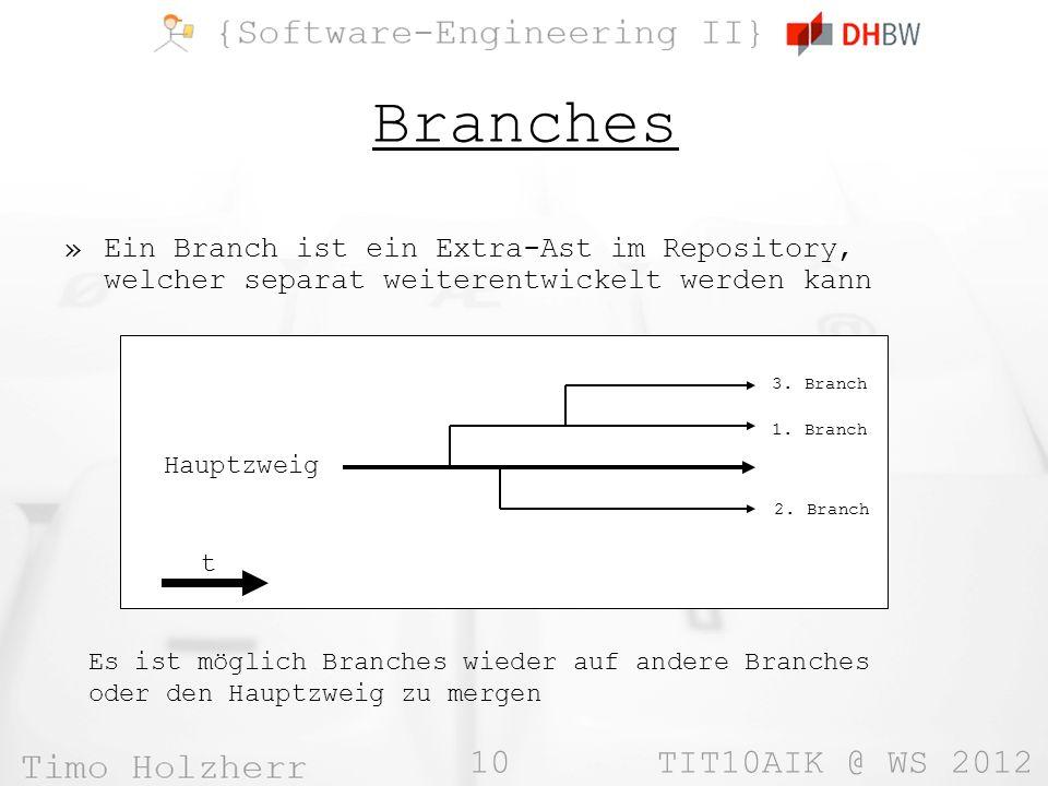 10 TIT10AIK @ WS 2012 Branches »Ein Branch ist ein Extra-Ast im Repository, welcher separat weiterentwickelt werden kann Hauptzweig t 1.