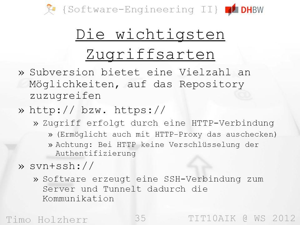 35 TIT10AIK @ WS 2012 Die wichtigsten Zugriffsarten »Subversion bietet eine Vielzahl an Möglichkeiten, auf das Repository zuzugreifen »http:// bzw.