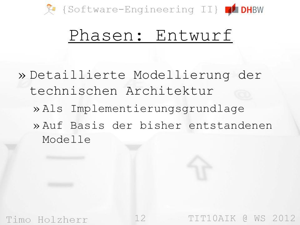 12 TIT10AIK @ WS 2012 Phasen: Entwurf »Detaillierte Modellierung der technischen Architektur »Als Implementierungsgrundlage »Auf Basis der bisher ents