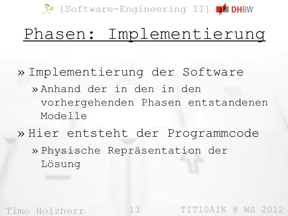 13 TIT10AIK @ WS 2012 Phasen: Implementierung »Implementierung der Software »Anhand der in den in den vorhergehenden Phasen entstandenen Modelle »Hier