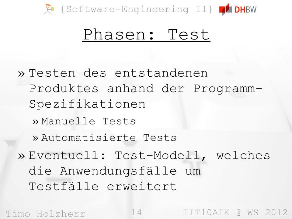 14 TIT10AIK @ WS 2012 Phasen: Test »Testen des entstandenen Produktes anhand der Programm- Spezifikationen »Manuelle Tests »Automatisierte Tests »Even