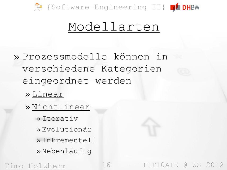 16 TIT10AIK @ WS 2012 Modellarten »Prozessmodelle können in verschiedene Kategorien eingeordnet werden »Linear »Nichtlinear »Iterativ »Evolutionär »In