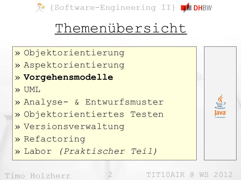 2 TIT10AIK @ WS 2012 Themenübersicht »Objektorientierung »Aspektorientierung »Vorgehensmodelle »UML »Analyse- & Entwurfsmuster »Objektorientiertes Tes