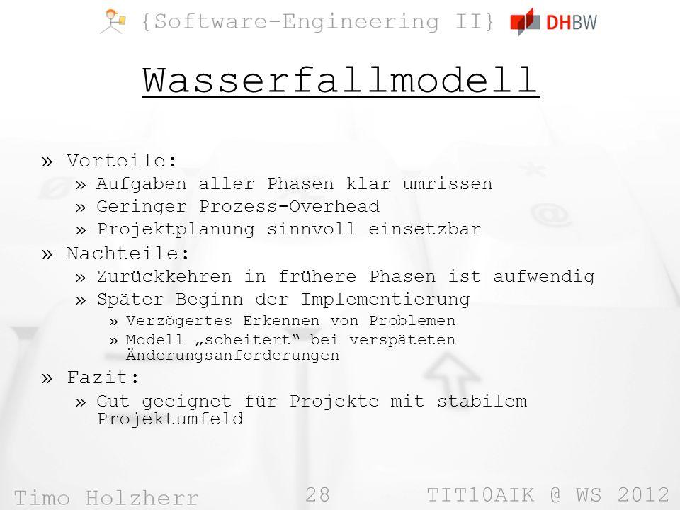 28 TIT10AIK @ WS 2012 Wasserfallmodell »Vorteile: »Aufgaben aller Phasen klar umrissen »Geringer Prozess-Overhead »Projektplanung sinnvoll einsetzbar