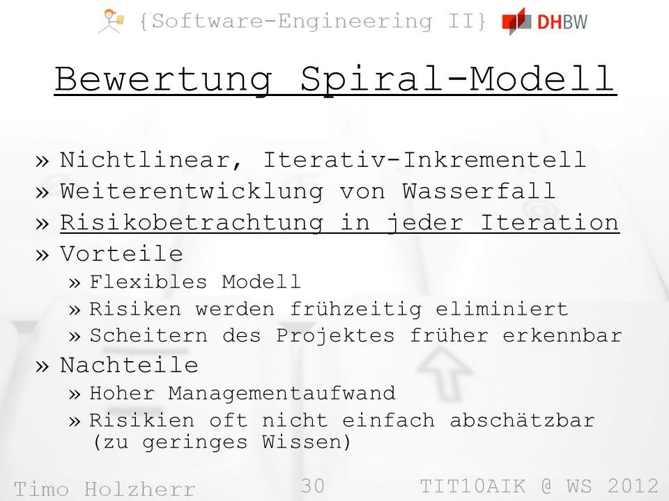 30 TIT10AIK @ WS 2012 Bewertung Spiral-Modell »Nichtlinear, Iterativ-Inkrementell »Weiterentwicklung von Wasserfall »Risikobetrachtung in jeder Iterat
