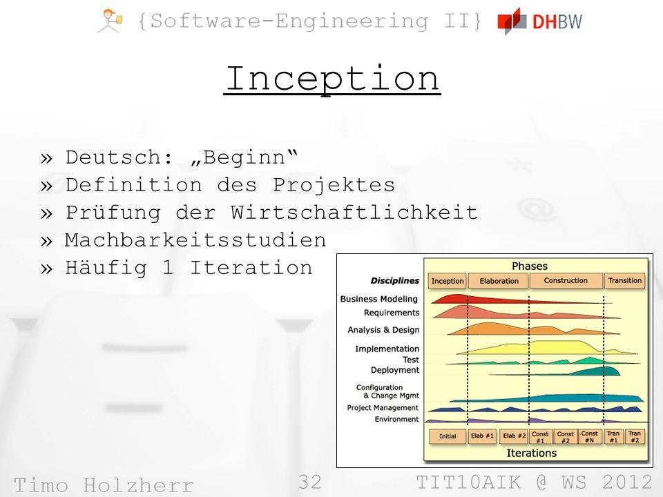 32 TIT10AIK @ WS 2012 Inception »Deutsch: Beginn »Definition des Projektes »Prüfung der Wirtschaftlichkeit »Machbarkeitsstudien »Häufig 1 Iteration