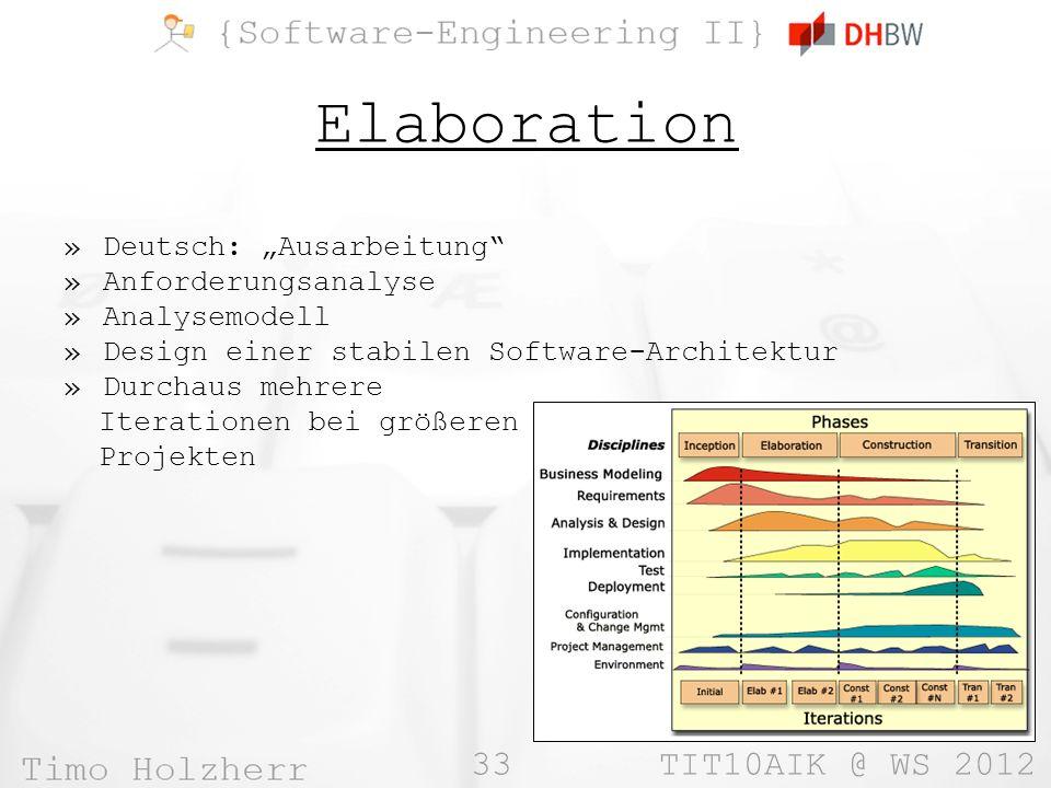 33 TIT10AIK @ WS 2012 Elaboration »Deutsch: Ausarbeitung »Anforderungsanalyse »Analysemodell »Design einer stabilen Software-Architektur »Durchaus meh