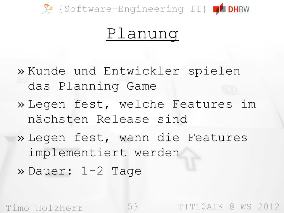 53 TIT10AIK @ WS 2012 Planung »Kunde und Entwickler spielen das Planning Game »Legen fest, welche Features im nächsten Release sind »Legen fest, wann
