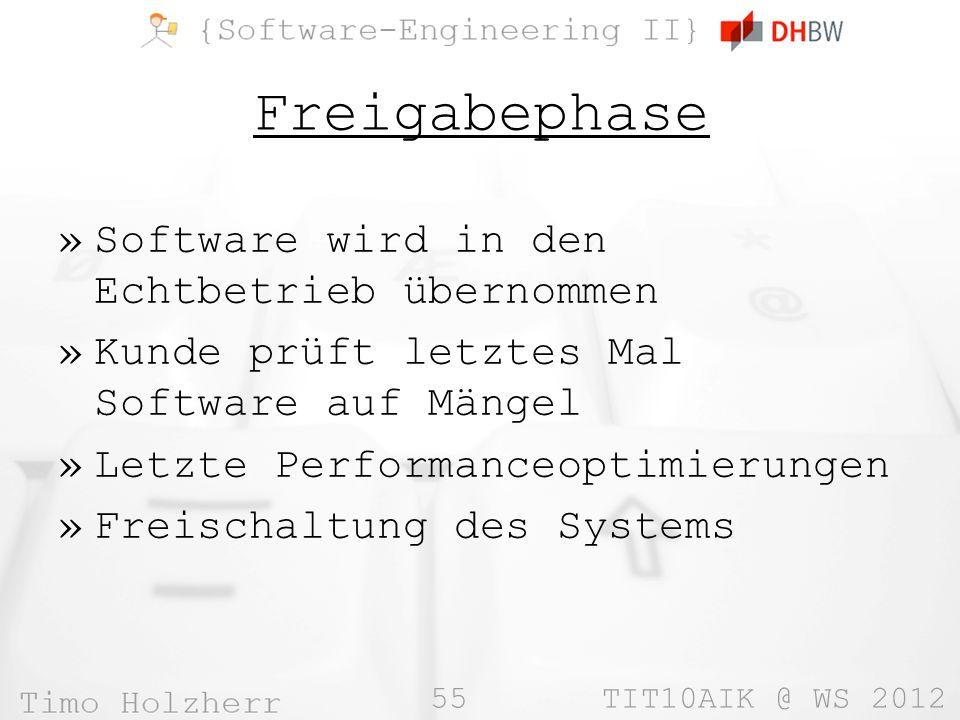 55 TIT10AIK @ WS 2012 Freigabephase »Software wird in den Echtbetrieb übernommen »Kunde prüft letztes Mal Software auf Mängel »Letzte Performanceoptim
