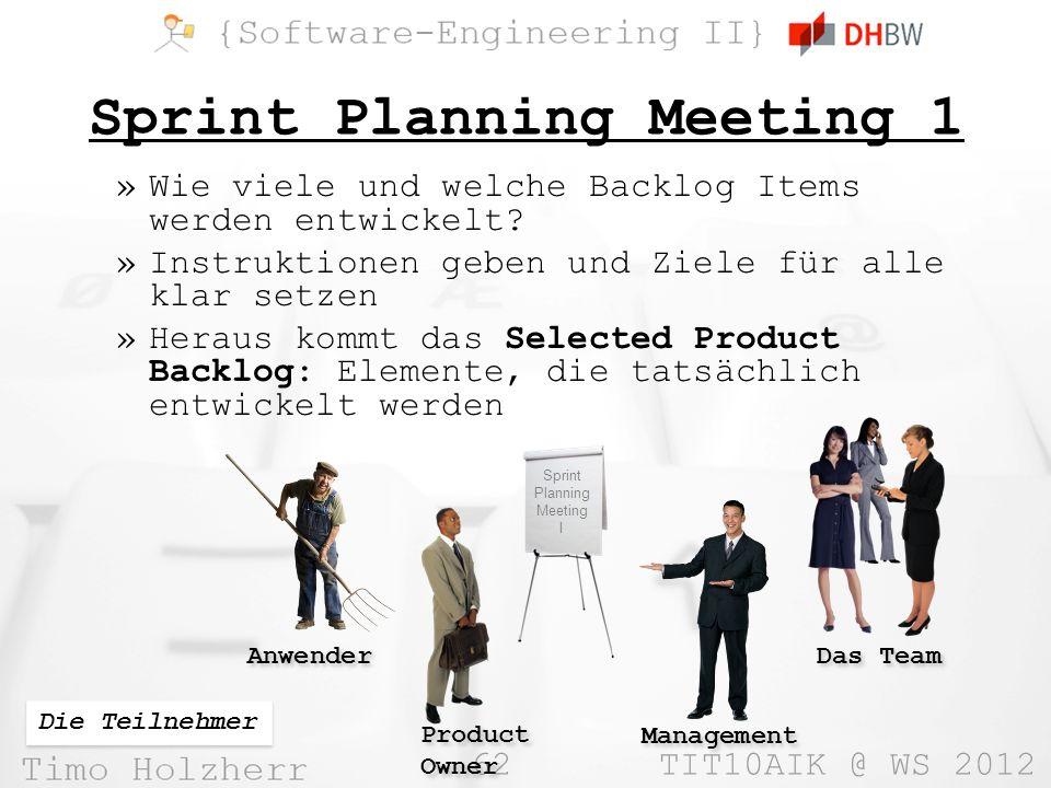 62 TIT10AIK @ WS 2012 Sprint Planning Meeting 1 »Wie viele und welche Backlog Items werden entwickelt? »Instruktionen geben und Ziele für alle klar se