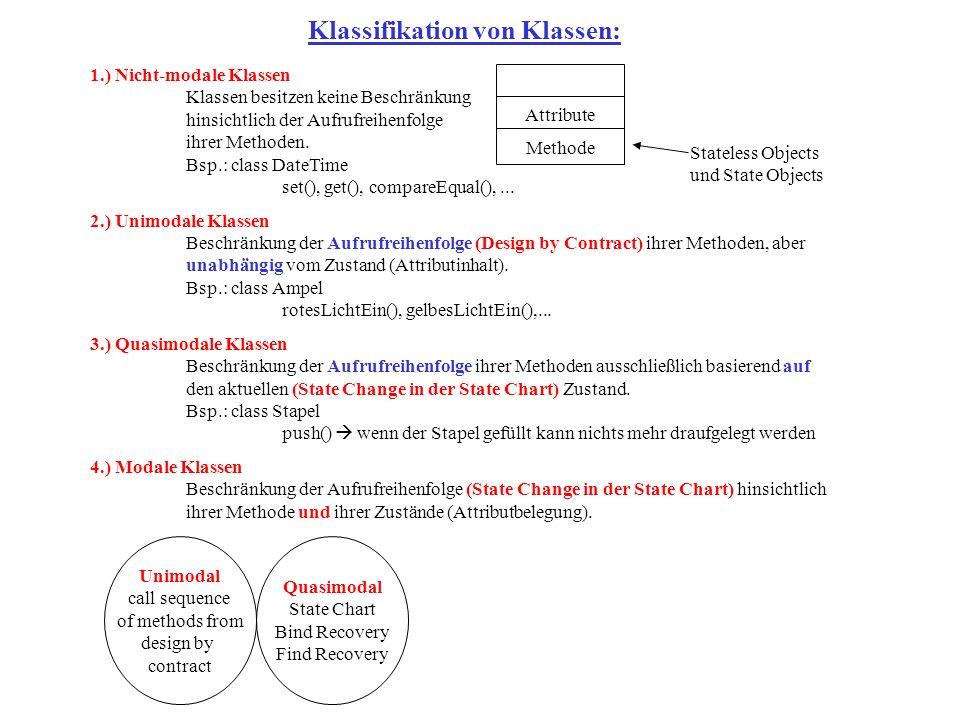 1.) Nicht-modale Klassen Klassen besitzen keine Beschränkung hinsichtlich der Aufrufreihenfolge ihrer Methoden.