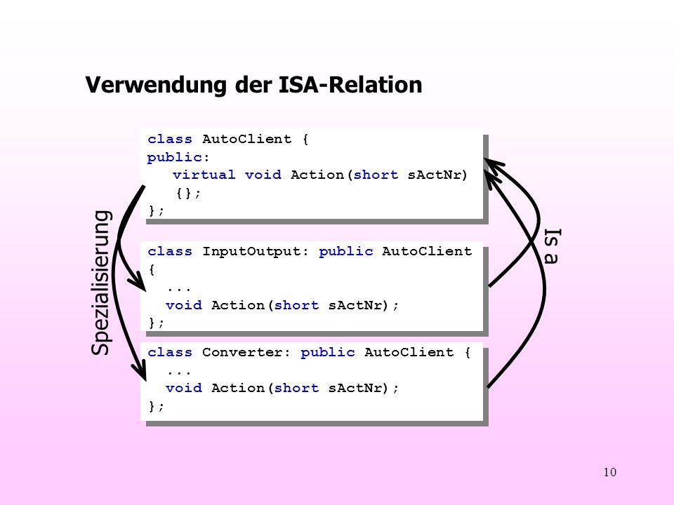 10 Verwendung der ISA-Relation class AutoClient { public: virtual void Action(short sActNr) {}; }; class AutoClient { public: virtual void Action(short sActNr) {}; }; class InputOutput: public AutoClient {...