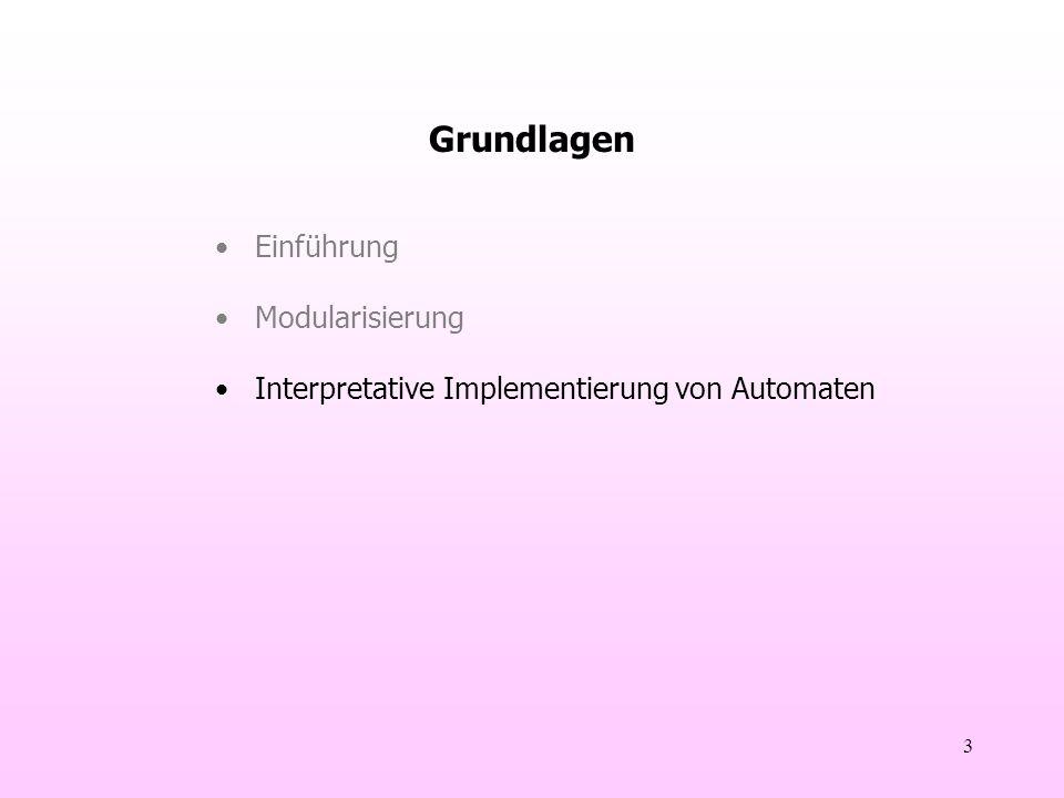 3 Grundlagen Einführung Modularisierung Interpretative Implementierung von Automaten