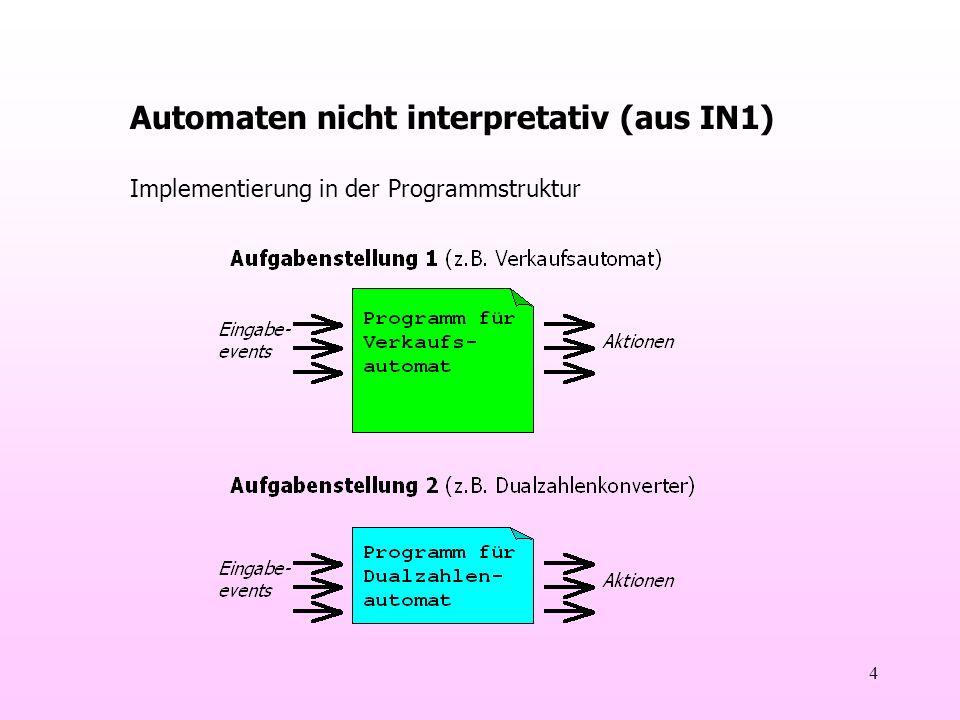 4 Automaten nicht interpretativ (aus IN1) Implementierung in der Programmstruktur