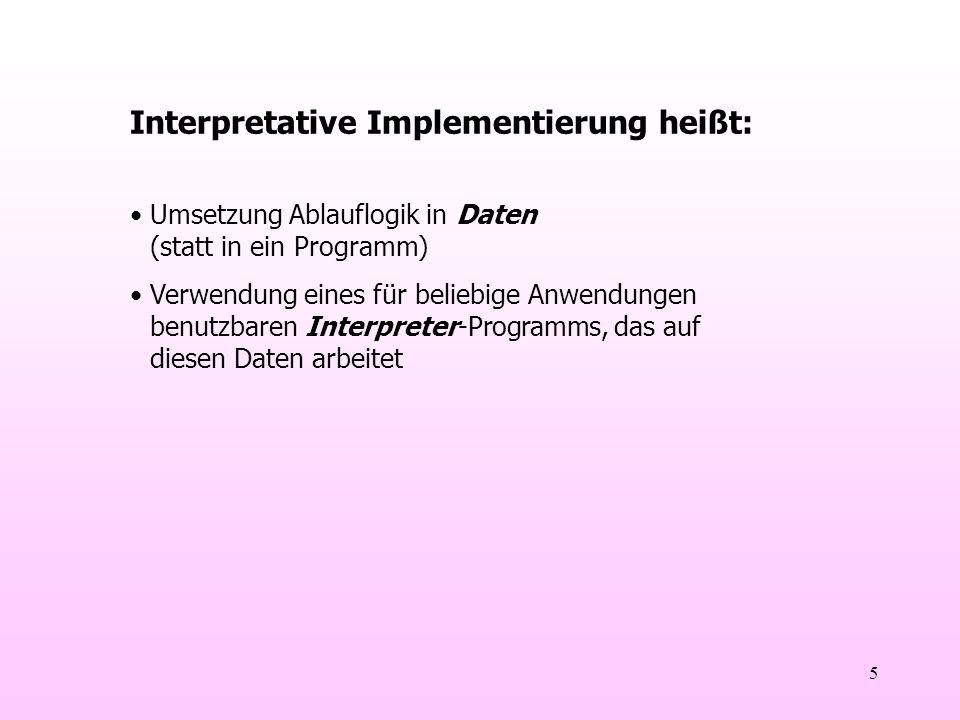 5 Interpretative Implementierung heißt: Umsetzung Ablauflogik in Daten (statt in ein Programm) Verwendung eines für beliebige Anwendungen benutzbaren Interpreter-Programms, das auf diesen Daten arbeitet