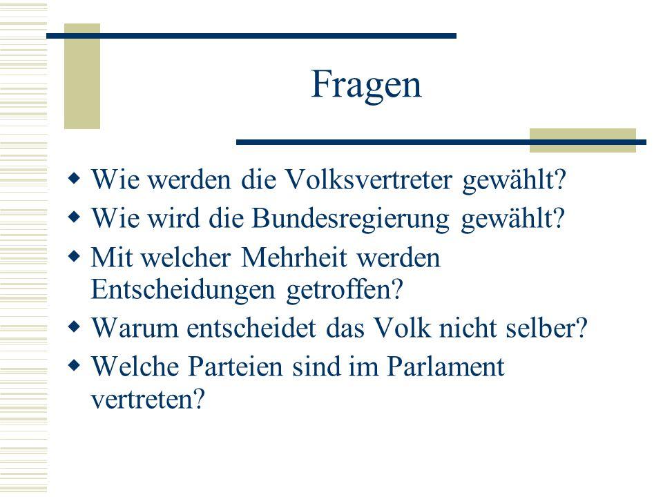 Fragen Wie werden die Volksvertreter gewählt.Wie wird die Bundesregierung gewählt.