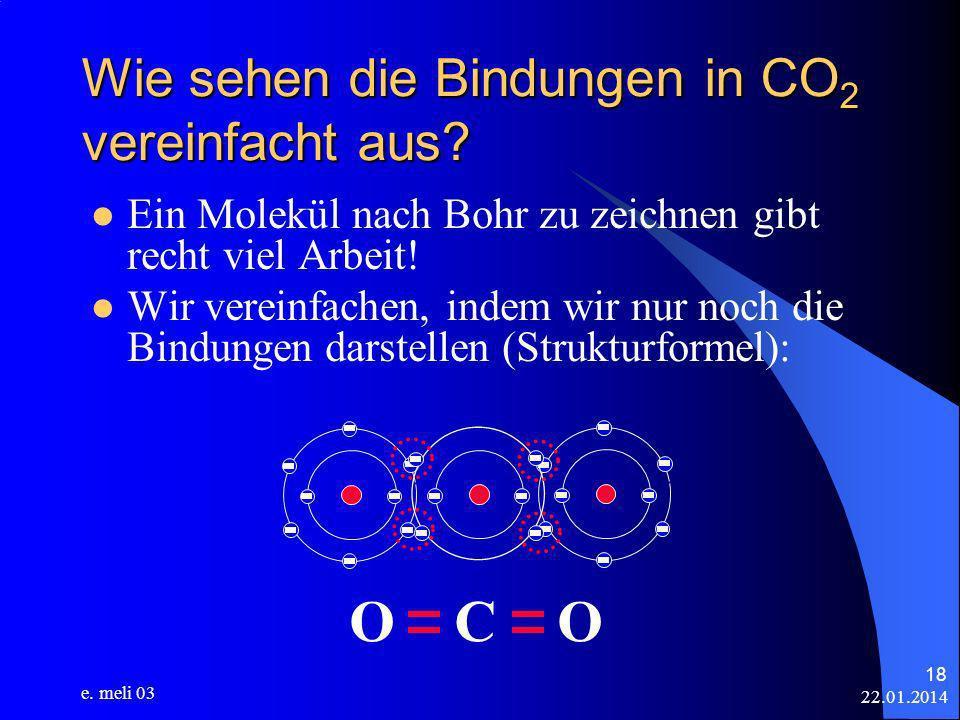 22.01.2014 e. meli 03 18 Wie sehen die Bindungen in CO 2 vereinfacht aus? Ein Molekül nach Bohr zu zeichnen gibt recht viel Arbeit! Wir vereinfachen,
