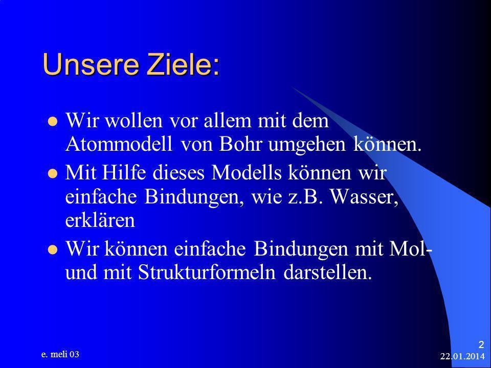 22.01.2014 e. meli 03 2 Unsere Ziele: Wir wollen vor allem mit dem Atommodell von Bohr umgehen können. Mit Hilfe dieses Modells können wir einfache Bi