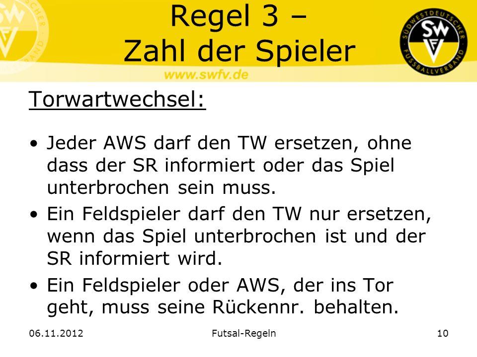 Regel 3 – Zahl der Spieler Torwartwechsel: Jeder AWS darf den TW ersetzen, ohne dass der SR informiert oder das Spiel unterbrochen sein muss. Ein Feld